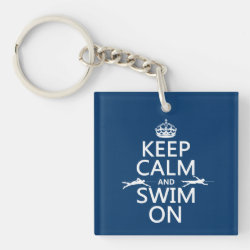 Square Keychain with Keep Calm and Swim On design