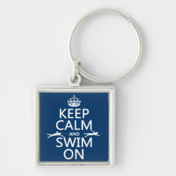 Premium Square Keychain with Keep Calm and Swim On design