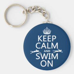 Basic Button Keychain with Keep Calm and Swim On design