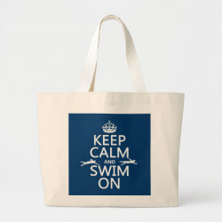 Jumbo Tote Bag with Keep Calm and Swim On design
