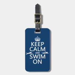 Small Luggage Tag with leather strap with Keep Calm and Swim On design