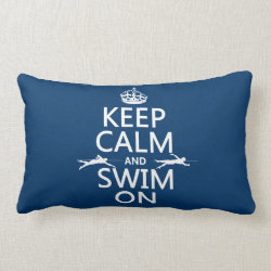 Throw Pillow Lumbar 13' x 21' with Keep Calm and Swim On design