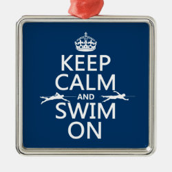 Keep Calm and Swim On Premium Square Ornament