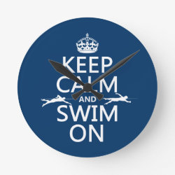 Medium Round Wall Clock with Keep Calm and Swim On design