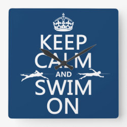 Square Wall Clock with Keep Calm and Swim On design