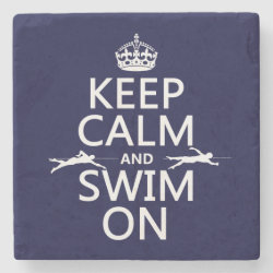Marble Coaster with Keep Calm and Swim On design
