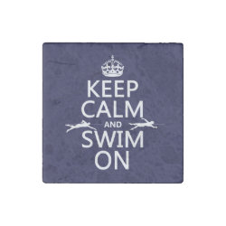 Keep Calm and Swim On Marble Magnet