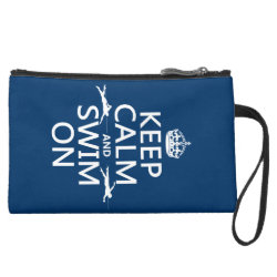 Sueded Mini Clutch with Keep Calm and Swim On design