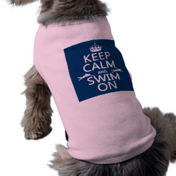 Keep Calm and Swim On Dog Ringer T-Shirt