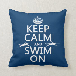 Cotton Throw Pillow with Keep Calm and Swim On design