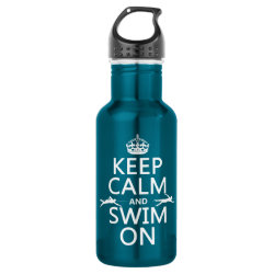 Water Bottle (24 oz) with Keep Calm and Swim On design