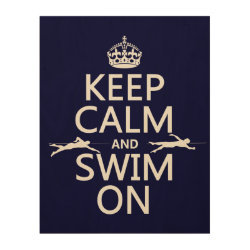 11'x14' Wood Canvas with Keep Calm and Swim On design