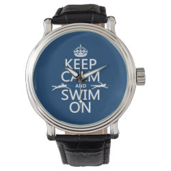Keep Calm and Swim On Men's Vintage Black Leather Strap Watch
