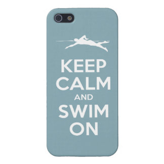 Keep Calm and Swim On (light blue) iPhone SE/5/5s Case