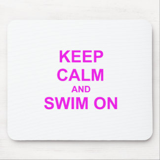 Keep Calm and Swim On orange pink red Mouse Pad