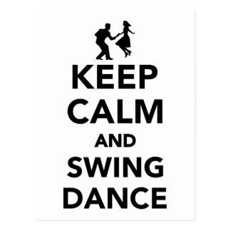 Keep calm and swing dance postcard