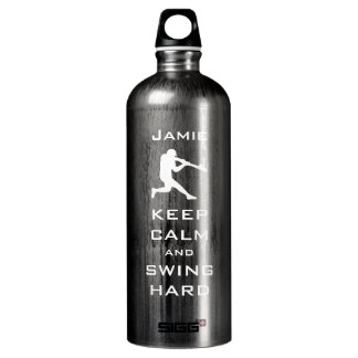 KEEP CALM AND SWING Hard PERSONALIZED BASEBALL Water Bottle