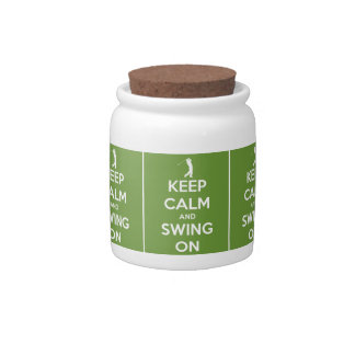 Keep Calm and Swing On Green Candy Jars