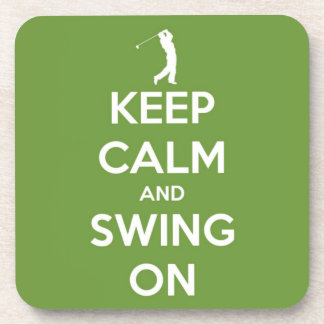 Keep Calm and Swing On Green Beverage Coasters