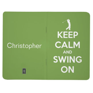 Keep Calm and Swing On Green Personalized Journal
