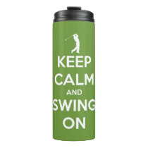 Keep Calm and Swing On Green Personalized Thermal Tumbler