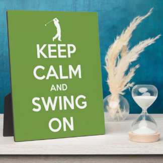 Keep Calm and Swing On Green Photo Plaques