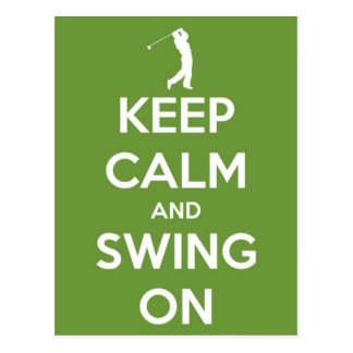 Keep Calm and Swing On Green Postcard