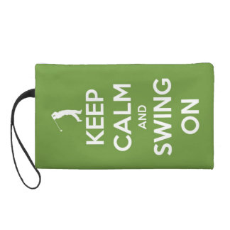 Keep Calm and Swing On Green Wristlet