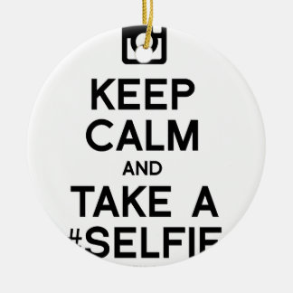 KEEP CALM AND TAKE A SELFIE Double-Sided CERAMIC ROUND CHRISTMAS ORNAMENT