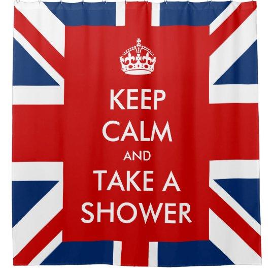 Keep Calm And Take A Shower UK Flag Union Jack Curtain
