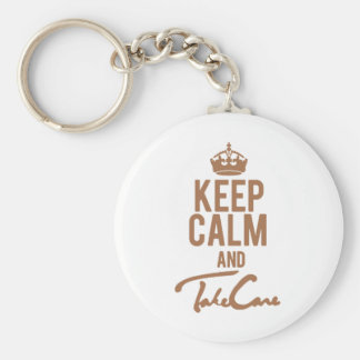 Keep Calm And Take Care Basic Round Button Keychain
