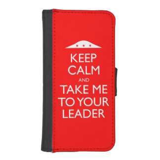 Keep Calm and Take me to your leader iPhone 5 Case Phone Wallet