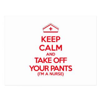 Keep Calm and Take Off Your Pants Postcard
