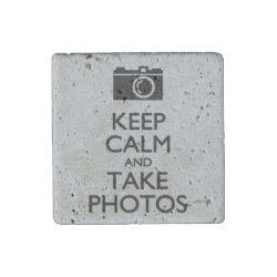Travertine Stone Magnet with Keep Calm and Take Photos design