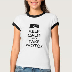 Ladies Ringer T-Shirt with Keep Calm and Take Photos design