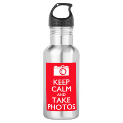 Water Bottle (24 oz) with Keep Calm and Take Photos design
