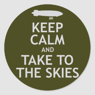 Keep Calm and Take to the Skies Classic Round Sticker