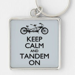 Premium Square Keychain with Keep Calm and Tandem On design