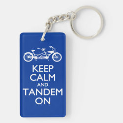 Rectangle Keychain (double-sided) with Keep Calm and Tandem On design