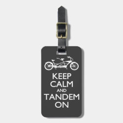 Small Luggage Tag with leather strap with Keep Calm and Tandem On design