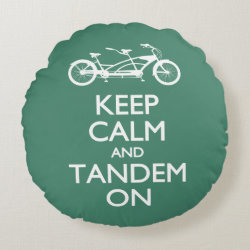 Round Throw Pillow (16') with Keep Calm and Tandem On design