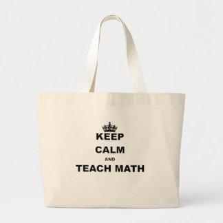KEEP CALM AND TEACH MATH LARGE TOTE BAG