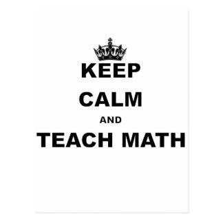 KEEP CALM AND TEACH MATH POSTCARD