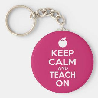 Keep Calm and Teach On Basic Round Button Keychain