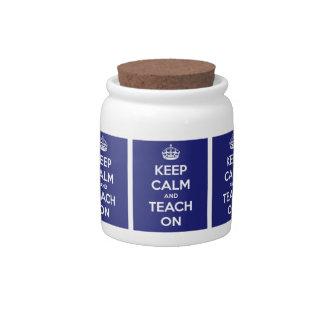 Keep Calm and Teach On Blue Candy Jar