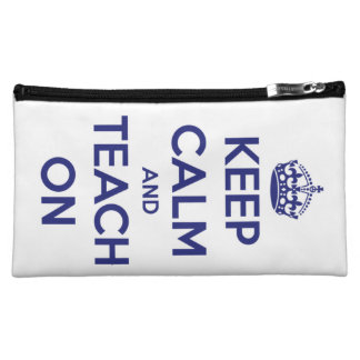 Keep Calm and Teach On Blue on White Personalized Makeup Bag
