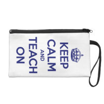 Keep Calm and Teach On Blue on White Personalized Wristlet Purse