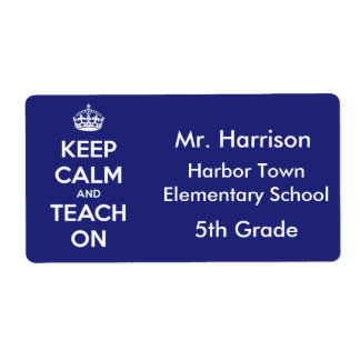 Keep Calm and Teach On Blue Personalized Label