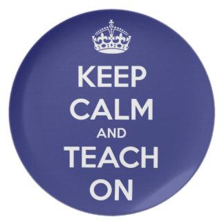 Keep Calm and Teach On Blue Dinner Plate