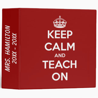 Keep Calm and Teach On Nautical Red Personalized 3 Ring Binder